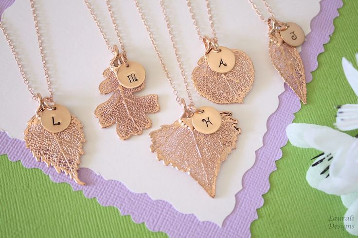 Rose Gold Personalized Initial Leaf Necklace, Real Leaf, Charm, Monogram, Initial Jewelry, Bridesmaid Gift, Choose your Leaf, Christmas Gift by lauralidesigns on Etsy https://www.etsy.com/listing/252994673/rose-gold-personalized-initial-leaf