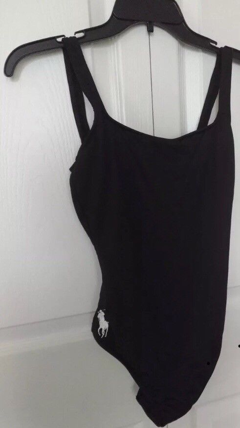 8714575858bc POLO RALPH LAUREN one piece swimsuit Sz 10 black with logo NEW w ...