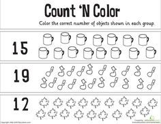 Worksheets: Count 'n Color: The Numbers 11-20