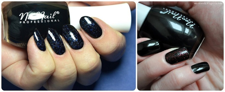 Black nail polish Nails flowers manicure Find us on: www.facebook.pl/neonailpl