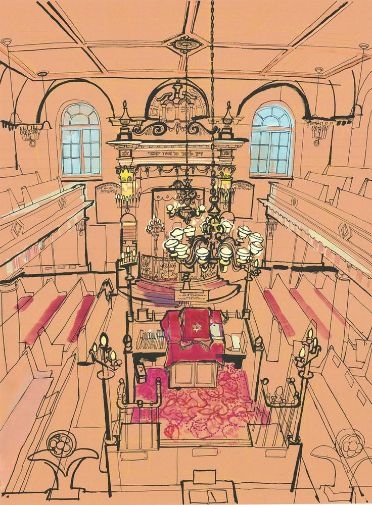 Sandys Row Synagogue in Spitalfields, London's oldest ashkenazi Synagogue, drawn by Lucinda Rogers