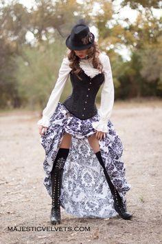 Victorian Steampunk Black Satin Corset with White & Black Bustle Skirt…                                                                                                                                                                                 More