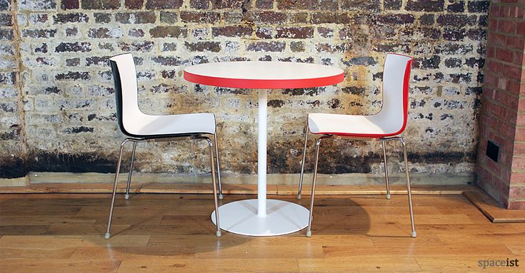 Edge red and white round cafe tables 75cm dia.