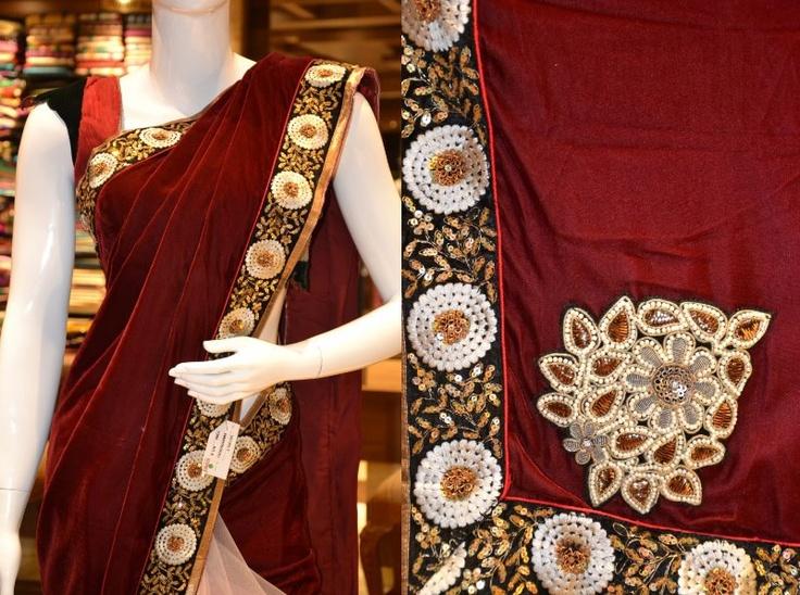 A velvet designer saree. Price: 8785. Walk into Pothys Boutique, G N Chetty Road, T Nagar, Chennai, to view the finest collection of designer sarees in Chennai.