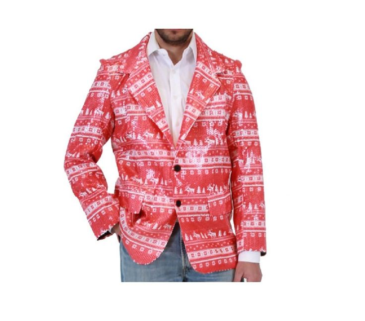 Sequined Humping Reindeer Red Ugly Christmas Sweater Suit Jacket
