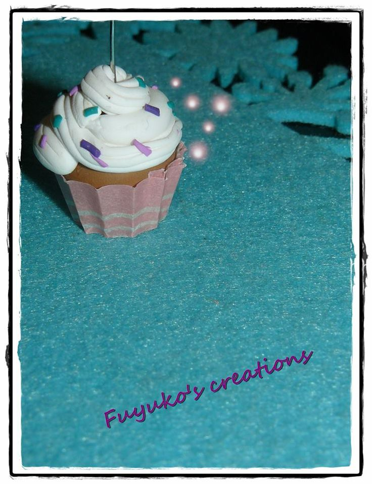 New cup cake... polymer clay and paper-