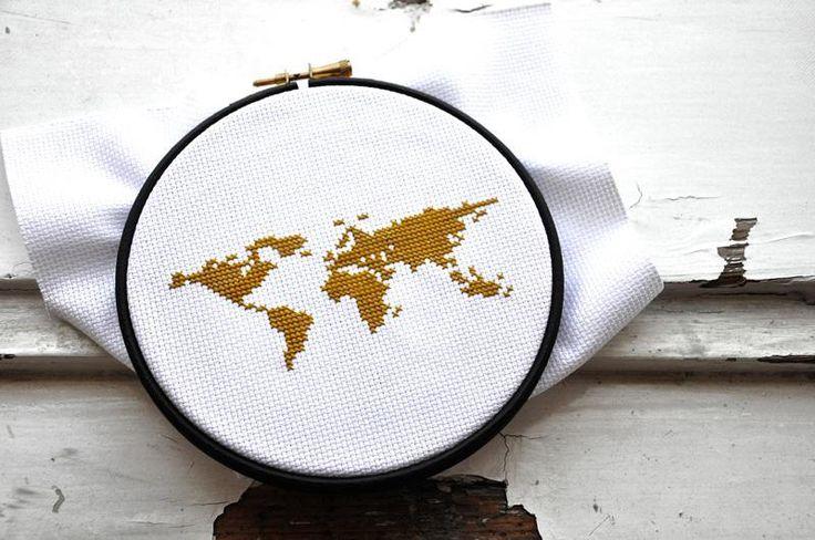 (10) Name: 'Embroidery : Modern cross stitch pattern WORLD