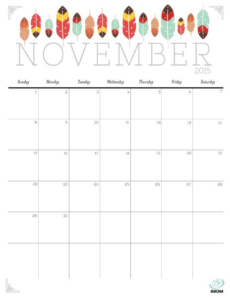 Download iMOM's Free November 2015 printable calendar. I spy feathers…and more feathers.