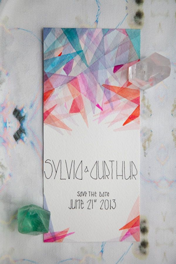 Love this geometric watercolor save the date! Perfect for a modern Art Deco wedding. Design by Spencer Studio.