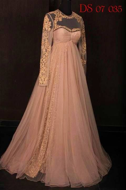 Pastel pink and gold anarkali gown