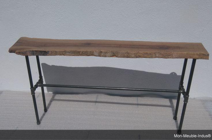 Console de salon en bois et tube acier industriel,table industriel ,table en bois : Meubles et rangements par mon-meuble-indus