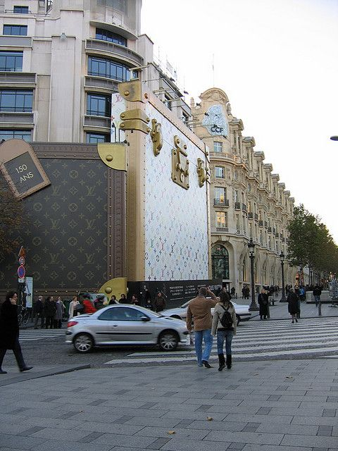 I remember seeing this: Yes, this is how Louis Vuitton renovates their stores...behind a closed suitcase