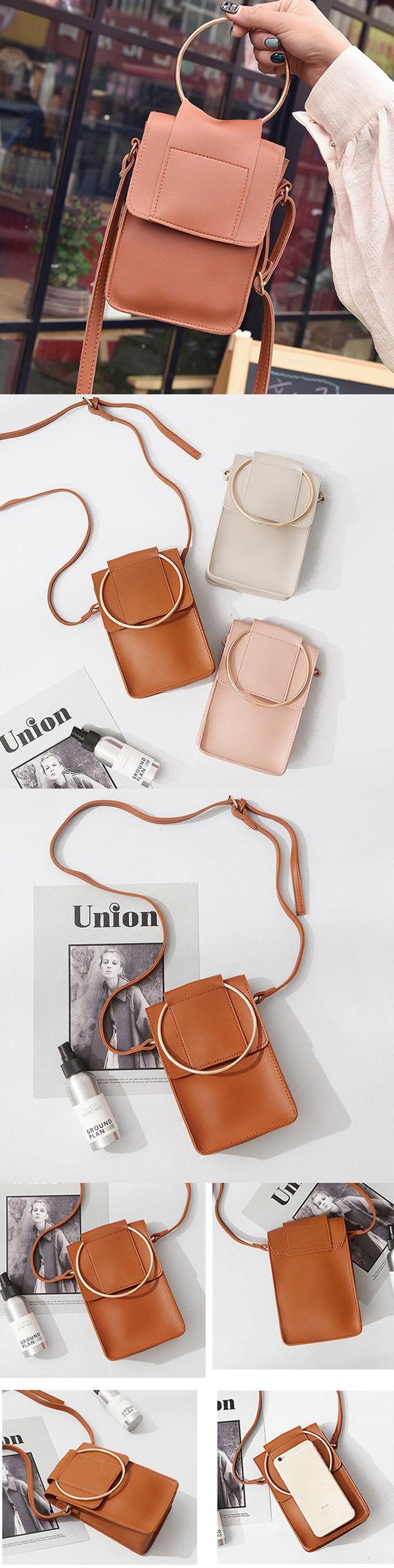 [$ 11.95]  Cute PU Leather Phone Bag Square Mini Crossbody Bag Women Dual-use Handbag