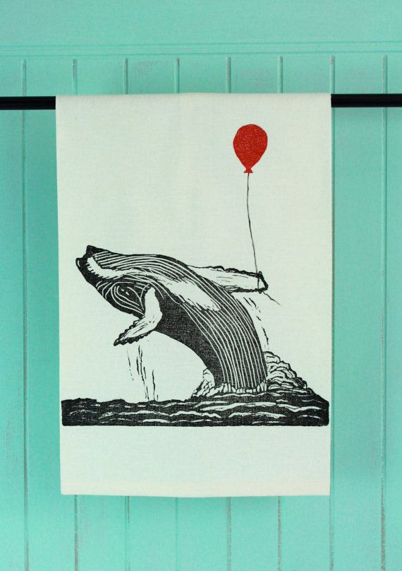 Hump Back Whale with Balloon, Block Printed in Black, Tea Towel #brindylinens #blockprint #teatowel #hemp #cotton #printed #treatyoself #newfoundland #whale