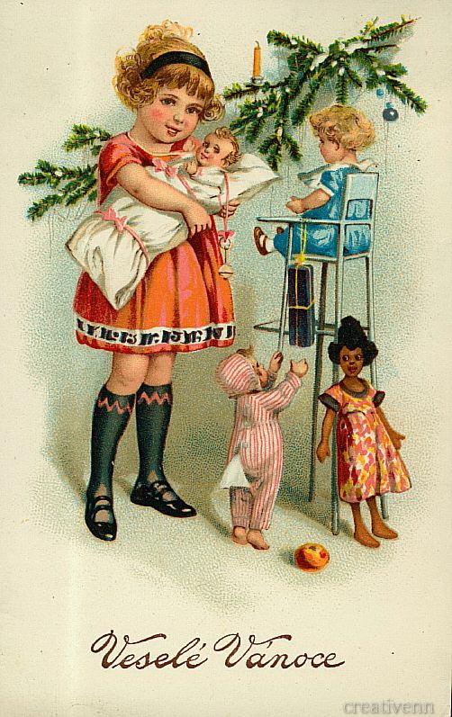 Ретро новогодние открытки с детьми