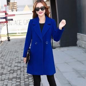 Femmes Cachemire-Comme Veste Épaisse Outwear Parka Cardigan Manteau Slim Manteau Bleu hhr571