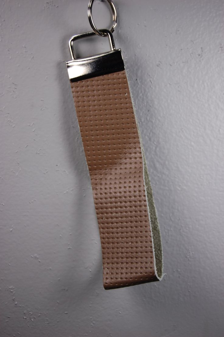 Brown Perforated Leather Wristlet Keychain by BerkeandBradyJo on Etsy