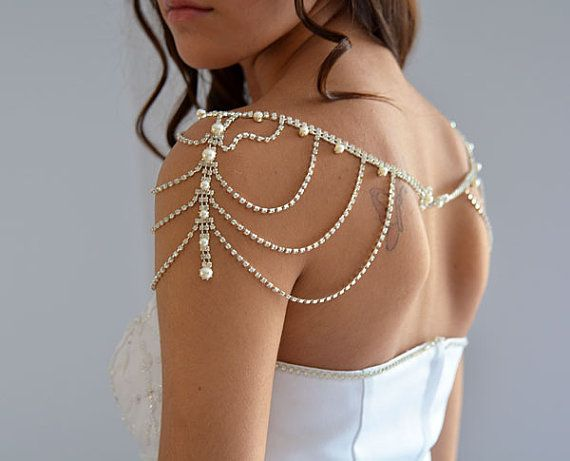Wedding Rhinestone Jewelry Wedding Dress Shoulder by ADbrdal, $120.00