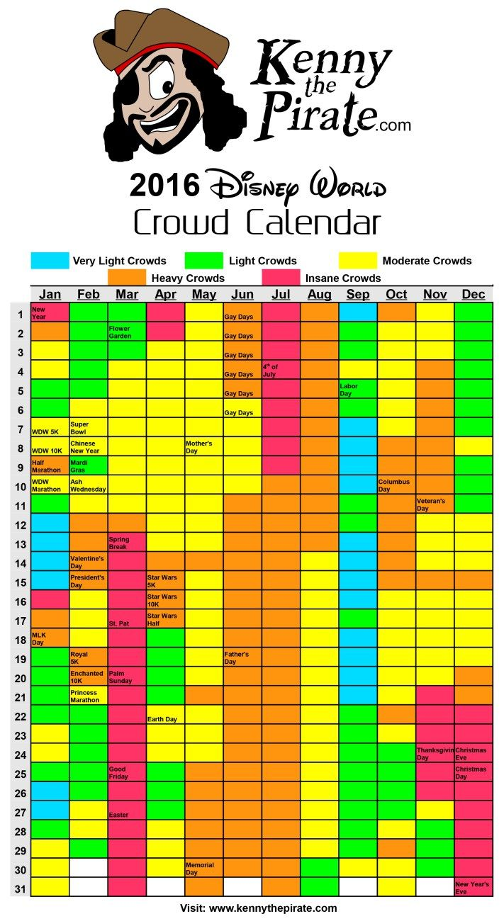 2016 Disney World Crowd Calendar  #disneyworld #disneyworldplanning #disneyworldcrowds #disneyworldcrowdcalendar