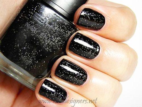 cute black sparkle nails