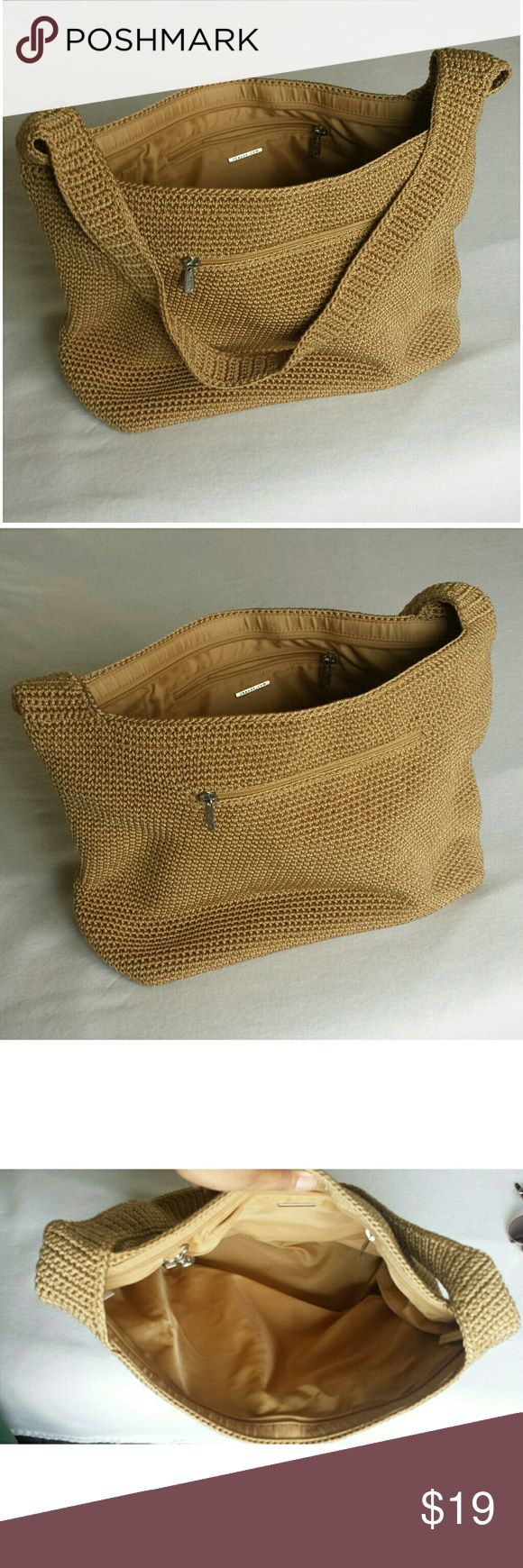 """The Sak Camel Boho Bag Purse Measurements. 11"""" strap 16"""" width 11"""" height. Has one pocket one the outside and one pocket on inside of purse. Fully lined. Thick crochet material. Very sturdy. The Sak Bags Satchels"""