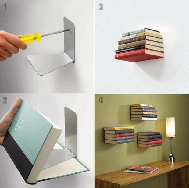Estante invisível, mto show! Idéias criativas para você guardar seus livros sem…