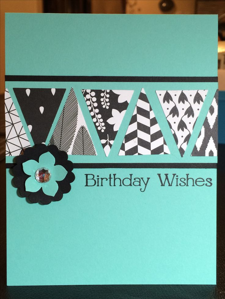 Stampin' Up! Back to Black DSP birthday masculine triangles