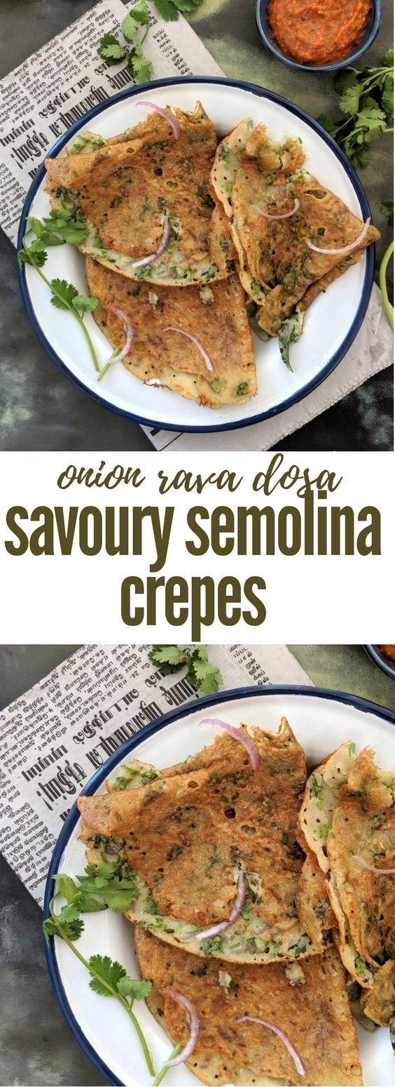 Instant Onion Rava Dosa Recipe | Semolina recipe | Savoury semolina crepe -   Make this easy recipe for a South Indian rava dosa using pantry ingredients.  Serve with chutneys.  Full recipe here - https://www.saffrontrail.com/crispy-onion-rava-dosa/ #breakfast #Indiancooking #semolina