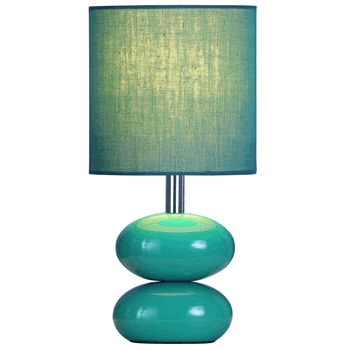 This table lamp has a fun pebble-like gloss ceramic base complete with a  cotton