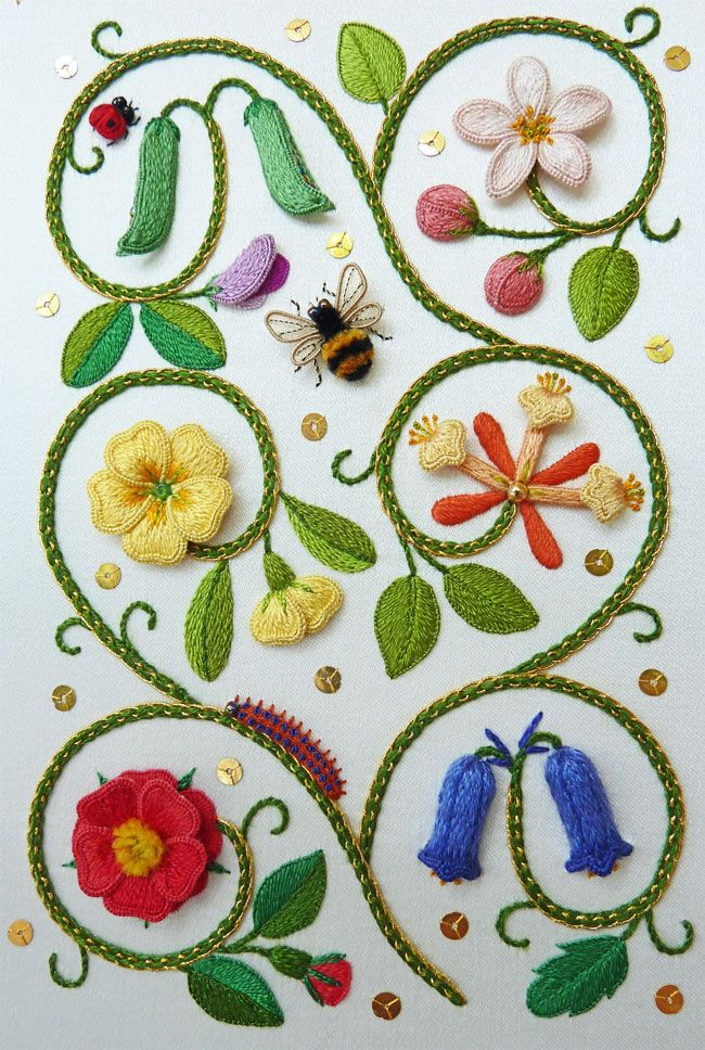 The Exquisite Elizabethan Flower Panel, (copyright Jane Nicholas) is being taught at the Koala Conventions Embroidery & Textile Event in Brisbane, 4th - 12th July 2015