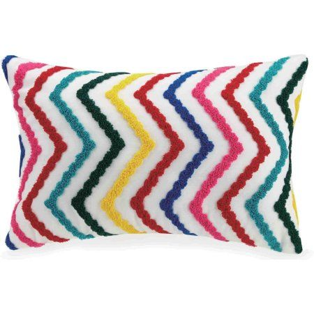"Better Homes and Gardens Embroidered Chevron Youth Pillow, 12"" x 18"""