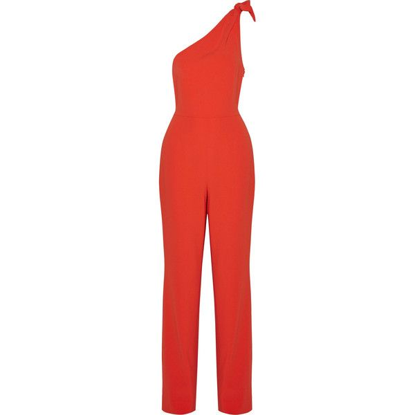 Diane von Furstenberg Knotted one-shoulder crepe jumpsuit ($470) ❤ liked on Polyvore featuring jumpsuits, jumpsuit, red, diane von furstenberg, diane von furstenberg jumpsuit, red jump suit, one shoulder jumpsuit and one sleeve jumpsuit