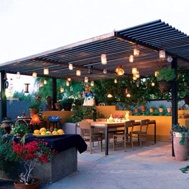 Patio Pergola And Deck Lighting Ideas And Pictures: A Corrugated Metal Roof For The Patio,
