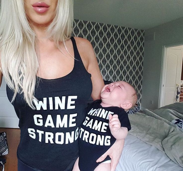 Mom and me matching shirts wine game strong and whine game strong for baby or any kid