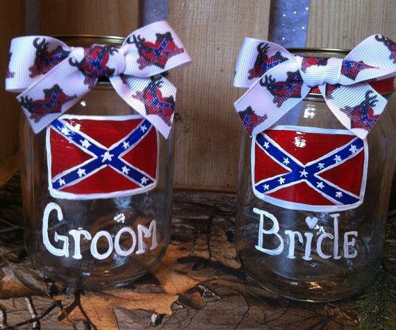 Rebel flag wedding glasses wedding mason jars painted for Rebel flag wedding dresses