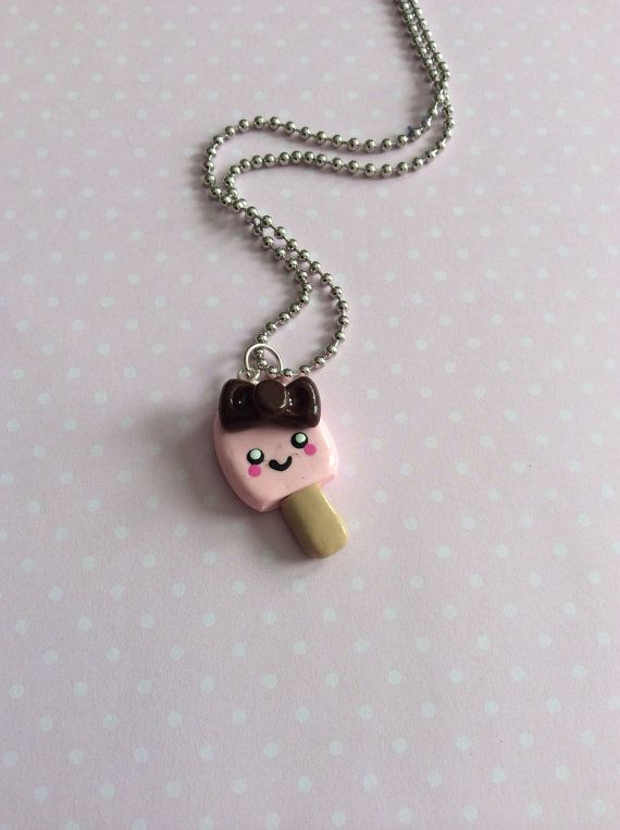 Kawaii Popsicle Charm Necklace, Kawaii Polymer Clay Charm, Kawaii Fake Food, Kawaii Popsicle Necklace  on Etsy, $10.00