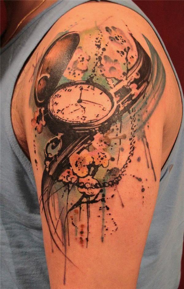 pocket watch tattoo - 40 Awesome Watch Tattoo Designs