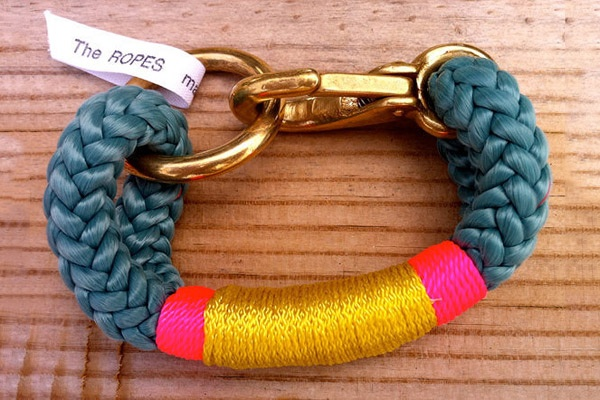 Made out of nautical rope, this amazing bracelet was crafted in Maine by designer Shana Aldrich Ready