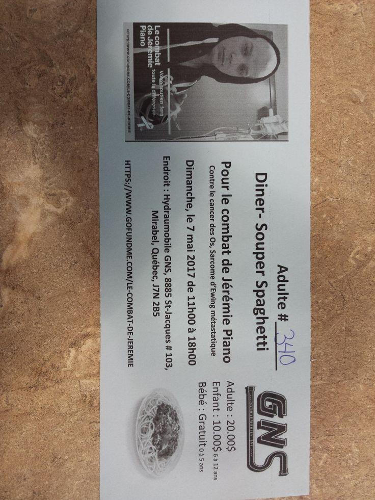 Passez manger un bon spaghetti pour aider Jérémie Piano aujourd'hui entre 11h et 18h chez G.n.s. Hydraulique !!Tout les donds sont remis à Jérémie pour lui permettre l'accès a un traitement en allemagne pouvant l'aider dans sa lutte contre le cancer des os.On croit que 22 ans c'est beaucoup trop tôt...Qu'est ce que vous faites de bien aujourd'hui? Passez nous voir !!