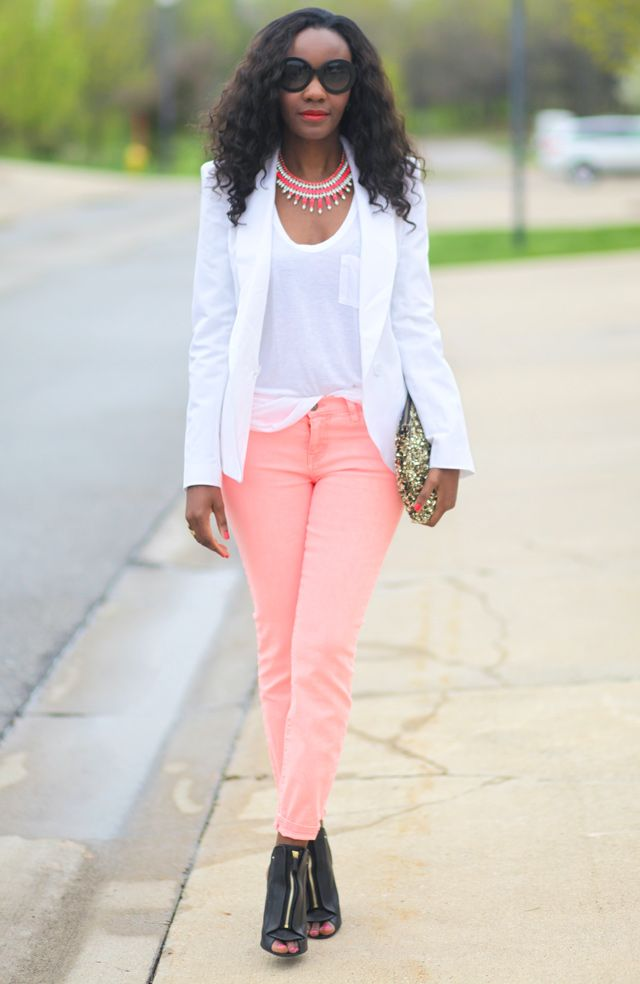 Peach jeans and White blazer