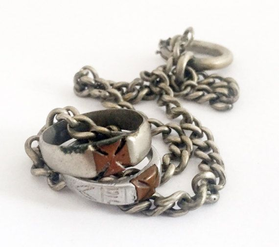 Antique WWI era Trench Art Ring Chain Necklace by OldPrintLoft