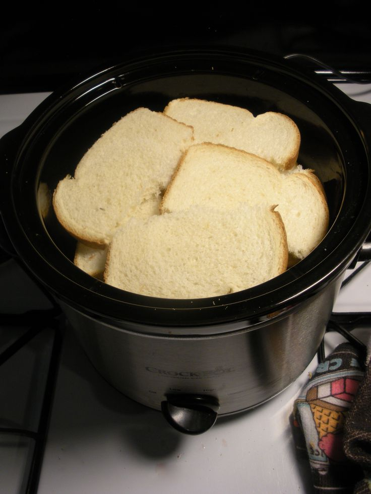 Crock Pot French Toast:  Combine: 6 eggs, 1 c milk, 1 tsp cinnamon, 1 tbsp light brown sugar, and 1 tsp vanilla.  Cook 6-8 hours.