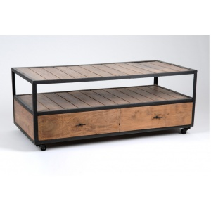 table basse indusrielle amadeus sur roulettes home sweet