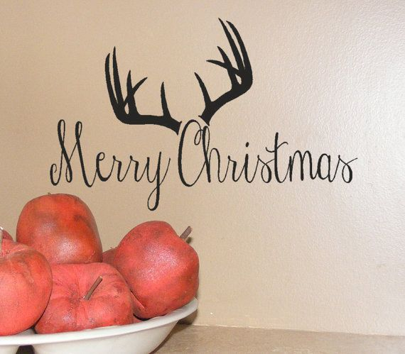 Merry Christmas Deer Antler Decor Vinyl wall decal words quote , Holiday greeting woodland decoration, rustic deer decoration