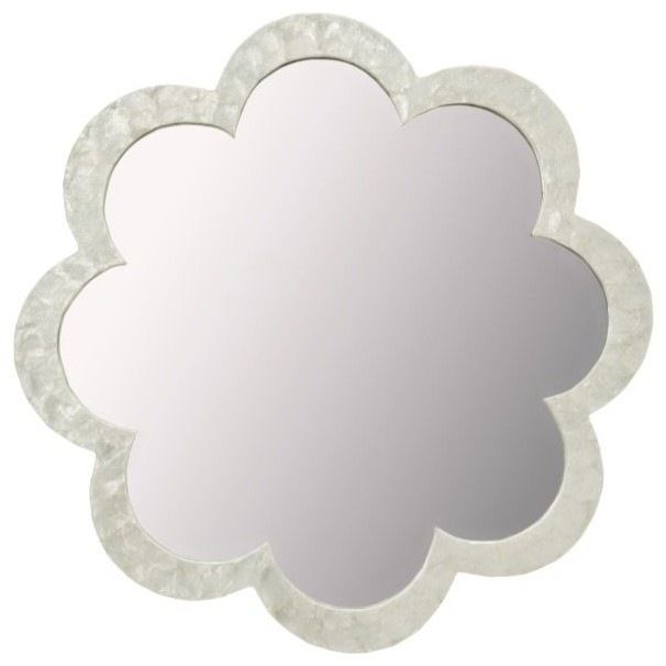 Flower Capiz Seashell Wall Mirror, Natural White tropical-wall-mirrors