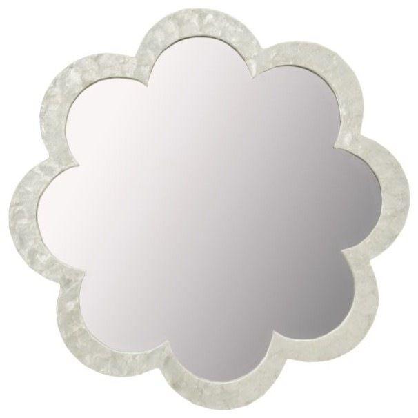 Flower Capiz Seashell Wall Mirror, Natural White tropical-wall-mirrors
