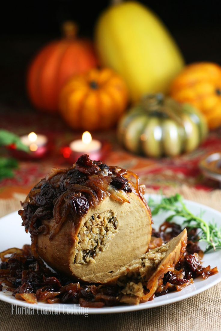 Tender Roast Tofurkey with Balsamic Caramelized Onions and Tart Dried Cherries – for the Perfect Vegan Thanksgiving!