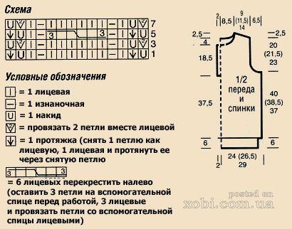 удлиненная безрукавка спицами - схема