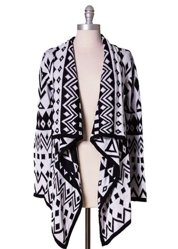 Tribal Knit Drape Front Cardigan by Ark & Co