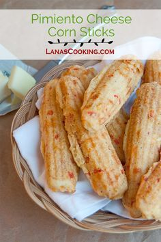 These pimiento cheese corn sticks combine a classic cornbread recipe with sharp cheddar and pimiento. From @NevrEnoughThyme http://www.lanascooking.com/pimiento-cheese-corn-sticks-for-baketogether